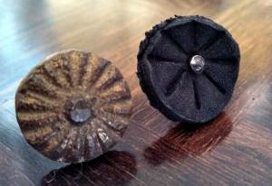 Bronze rivet (19th Century) and Don's leather rivet (1960's)