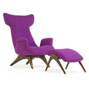 Vladimir Kagan Wing Lounge Chair and Ottoman (1970's)