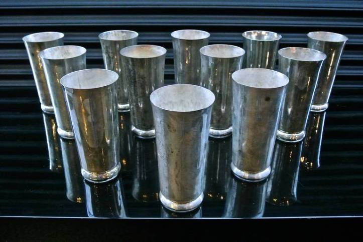 An amazing set of 12 William Spratling Silver Goblets (1940's)