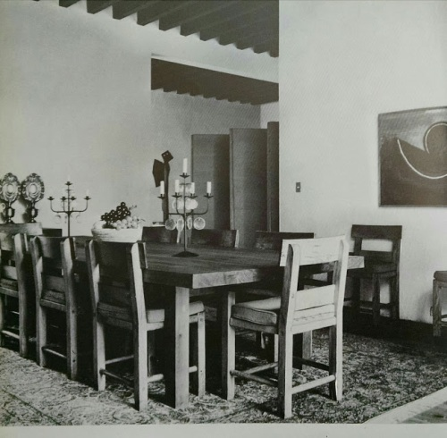 Casa Prieto dining room (opposite to the living room) in 1970